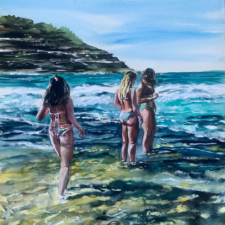 (CreativeWork) Bathing beauties by Wendy Joyce. Mixed Media. Shop online at Bluethumb.