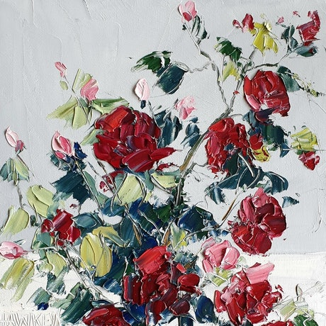 (CreativeWork) Little Red Rambling Roses  by Angela Hawkey. Oil Paint. Shop online at Bluethumb.