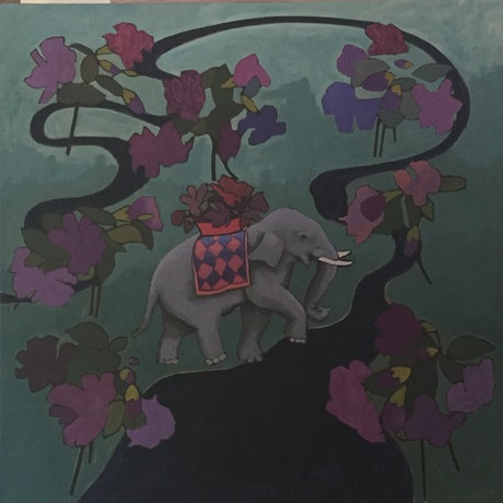 (CreativeWork) ELEPHANT AND RIVER by dave Hearne. Acrylic Paint. Shop online at Bluethumb.