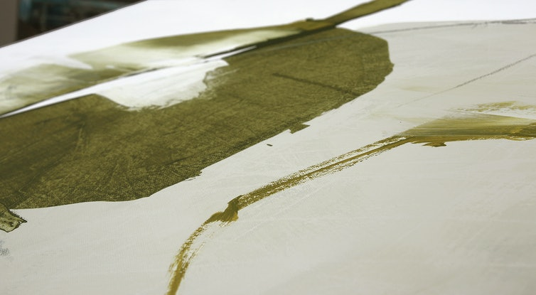 (CreativeWork) Tashi Delek - Olive mustard abstract by Stephanie Laine. Acrylic Paint. Shop online at Bluethumb.
