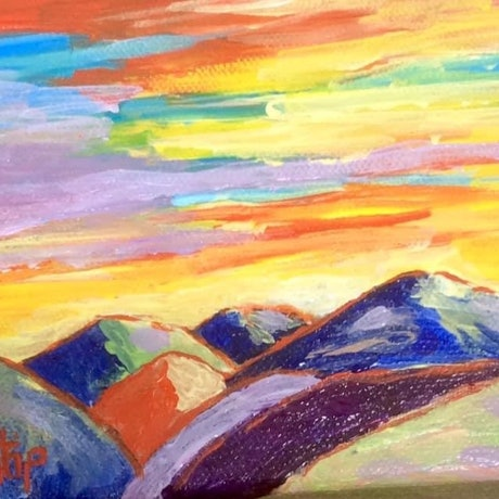 (CreativeWork) Sunset over Foster hills looking to Corner Inlet, Victoria, Australia by Margie Langtip. Acrylic Paint. Shop online at Bluethumb.