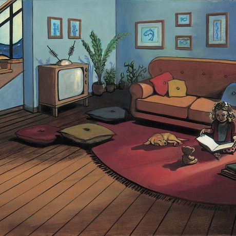 (CreativeWork) 'Molly's Sitting Room' - Molly Moores Has A House Like Yours (Pg 16-17)  by Ross Morgan. Acrylic Paint. Shop online at Bluethumb.
