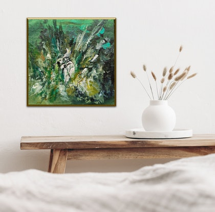 (CreativeWork) White Protea Feature and Foliage  by Lucile Hibbsio. Oil Paint. Shop online at Bluethumb.