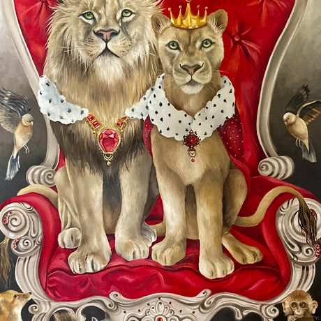 (CreativeWork) King n Queen by Nicolee Payne. Oil Paint. Shop online at Bluethumb.