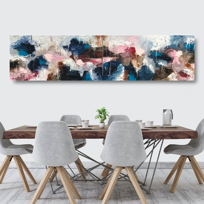 (CreativeWork) Neirin No. 1 & No. 2 (Diptych) by Melanie Crawford. Acrylic Paint. Shop online at Bluethumb.