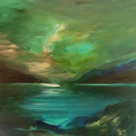 (CreativeWork) River Horizon  by Alice Howell. Oil Paint. Shop online at Bluethumb.