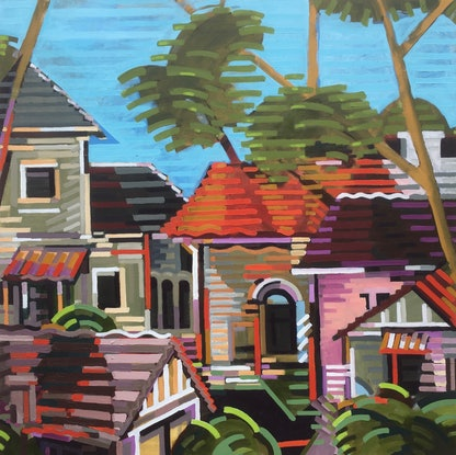 (CreativeWork) StKilda West by D.M. Ross. Oil Paint. Shop online at Bluethumb.