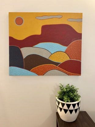 (CreativeWork) Mountain View by Ginsten .. Acrylic Paint. Shop online at Bluethumb.