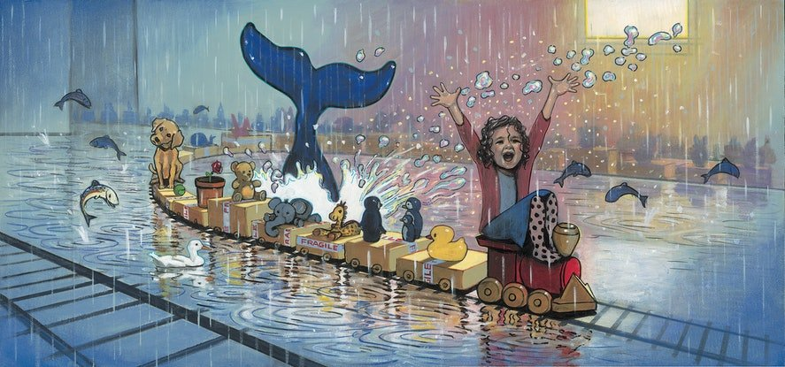 (CreativeWork) 'Molly's Train in the Rain - Molly Moores Has A House Like Yours (Pg 26 - 27)  by Ross Morgan. Acrylic. Shop online at Bluethumb.