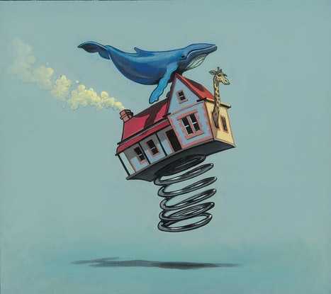 (CreativeWork) 'It Just Blew Away - Molly Moores Has A House Like Yours (Pg 32)  by Ross Morgan. Acrylic. Shop online at Bluethumb.