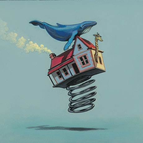 (CreativeWork) 'It Just Blew Away - Molly Moores Has A House Like Yours (Pg 32)  by Ross Morgan. Acrylic Paint. Shop online at Bluethumb.