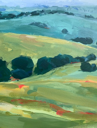 (CreativeWork) Countryside Along the Hume by Eve Sellars. Acrylic Paint. Shop online at Bluethumb.