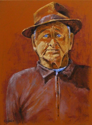 """(CreativeWork) """"George and Favourite Hat"""" by Daniela Selir. Oil Paint. Shop online at Bluethumb."""