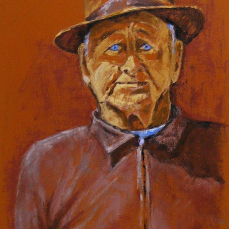 "(CreativeWork) ""George and Favourite Hat"" by Daniela Selir. Oil Paint. Shop online at Bluethumb."