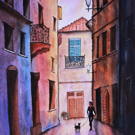 (CreativeWork) Original watercolour art painting, Europe France Paris old building street scene style, lady with dog by Helena Liu. Watercolour Paint. Shop online at Bluethumb.