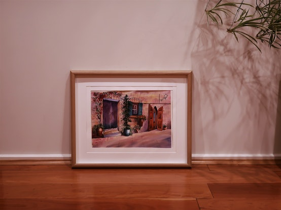 (CreativeWork) Original watercolour painting ancient Europe Italy Italian village street scene cityscape building with purple door by Helena Liu. Watercolour Paint. Shop online at Bluethumb.