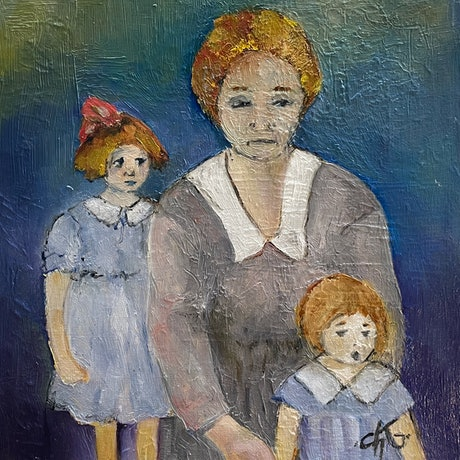 (CreativeWork) FAMILLEs, JE VOUS AIME. by Chantal Kwast-Greff. Oil. Shop online at Bluethumb.