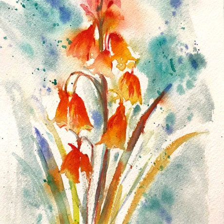 (CreativeWork) Christmas Bells Painting Original  by Chris Hobel. Watercolour Paint. Shop online at Bluethumb.