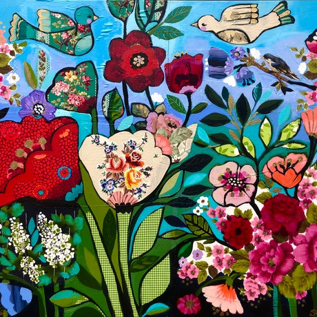 (CreativeWork) Among Flowers  by Sandra Oost. Mixed Media. Shop online at Bluethumb.