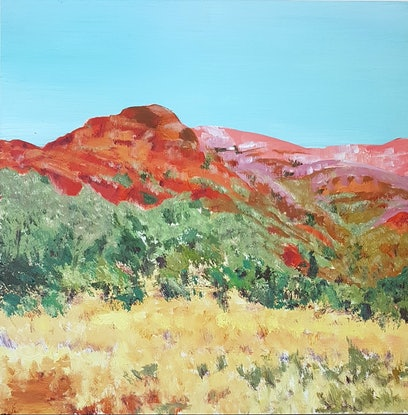 (CreativeWork) Pink Hills, Red Earth by Suzy Strout. Acrylic Paint. Shop online at Bluethumb.