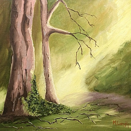 (CreativeWork) Letting in the Light with moss on Tree by Margie Langtip. Oil Paint. Shop online at Bluethumb.