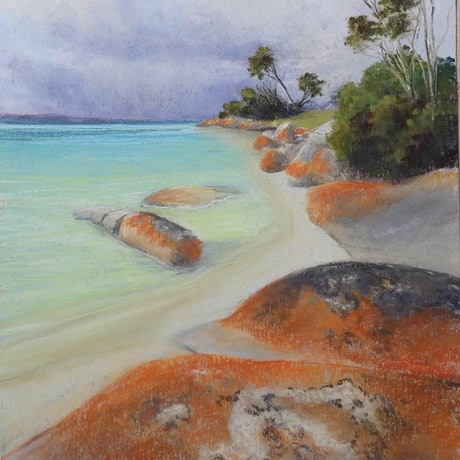 (CreativeWork) Sawerys Bay Flinders Island.     Seascape   by Lindy Whitton. Drawings. Shop online at Bluethumb.