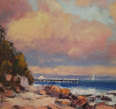 (CreativeWork) The Sun's Last Touch. Shorncliffe. Qld by Barry Back. Oil Paint. Shop online at Bluethumb.