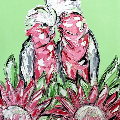 (CreativeWork) Hold me close and whisper to me sweet nothings by Lisa Fahey. Acrylic Paint. Shop online at Bluethumb.