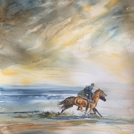 (CreativeWork) Race the storm No.3 by Wendy Joyce. Watercolour Paint. Shop online at Bluethumb.