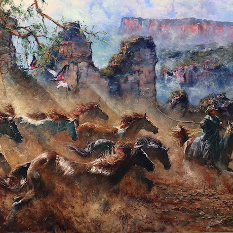(CreativeWork) MOUNTAIN STAMPEDE - ICONIC PAINTING OF A LIFETIME!!! INVESTMENT by Robert Hagan. Oil Paint. Shop online at Bluethumb.