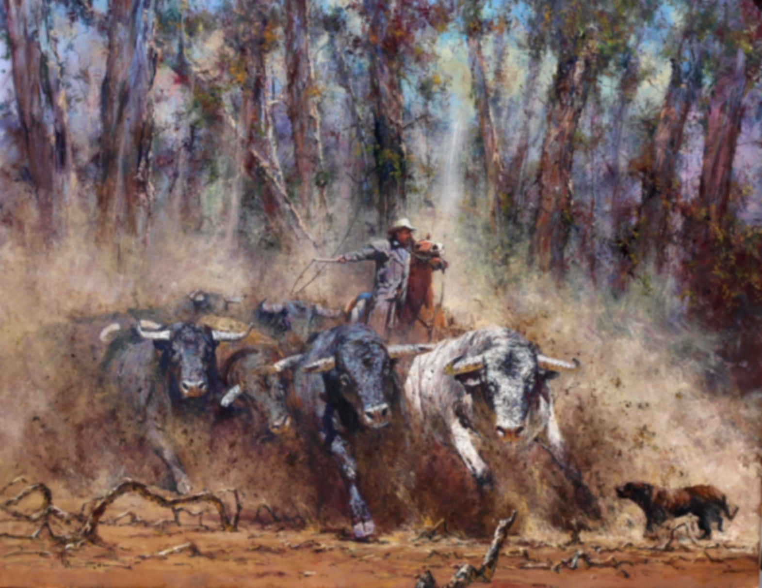 (CreativeWork) 'CHARGE'  -   BY ROBERT HAGAN -  INVESTMENT ART  by Robert Hagan. Oil Paint. Shop online at Bluethumb.