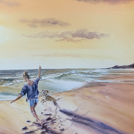 (CreativeWork) Footprints in the sand No2 by Wendy Joyce. Mixed Media. Shop online at Bluethumb.