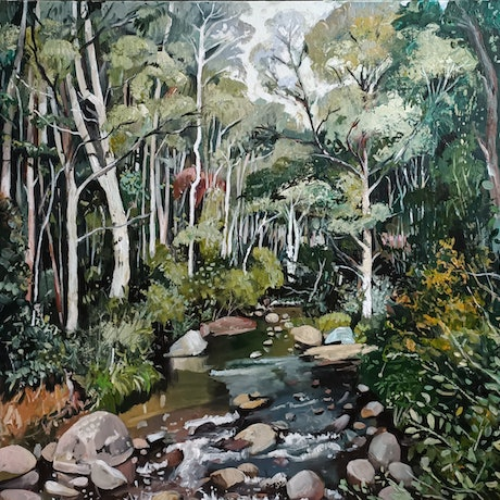 (CreativeWork) Australian Landscape  - The Forest by Susan Trudinger. Acrylic Paint. Shop online at Bluethumb.