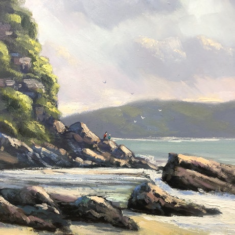 (CreativeWork) Rain Approaching Pearl Beach by John Rice. Oil Paint. Shop online at Bluethumb.