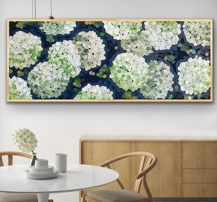 (CreativeWork) Apple white night hydrangea 157x66 framed (choice of color)large textured abstract by Sophie Lawrence. Acrylic Paint. Shop online at Bluethumb.