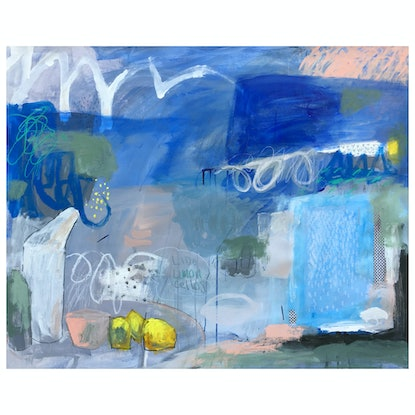 (CreativeWork) Lido Limoncellos by Nicole Fearfield. Acrylic Paint. Shop online at Bluethumb.
