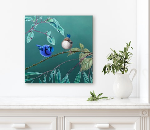 (CreativeWork) Between the Thorns - Splendid Fairy Wren by Michelle Williamson. Oil Paint. Shop online at Bluethumb.