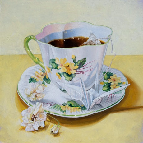 (CreativeWork) Buttercup Teacup by Melissa Ritchie. Oil Paint. Shop online at Bluethumb.