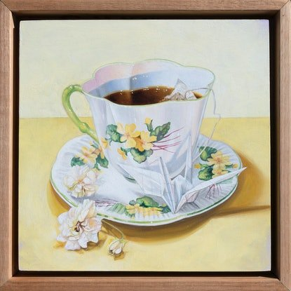 (CreativeWork) Buttercup Teacup by Melissa Ritchie. Oil. Shop online at Bluethumb.