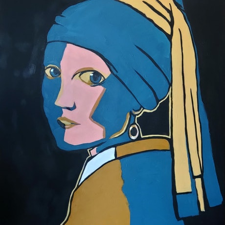 (CreativeWork) Girl with a Pearl Earring - Large Picasso Style by Rebecca Read. Acrylic Paint. Shop online at Bluethumb.