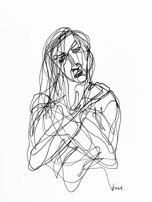 (CreativeWork) Don't Let Go - Woman I by Irma Calabrese. Drawings. Shop online at Bluethumb.
