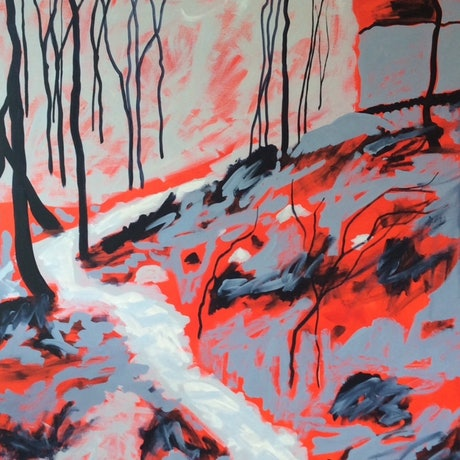 (CreativeWork) Hells Curtain  by Diane McDonald. Acrylic Paint. Shop online at Bluethumb.