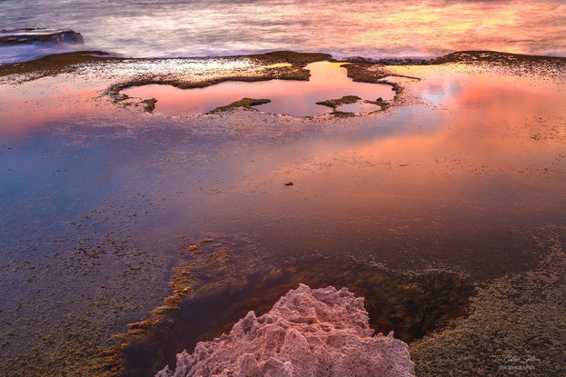 (CreativeWork) Rock Pool Reflections by Thomas Dassy. Photograph. Shop online at Bluethumb.