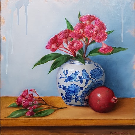 (CreativeWork) Gum flower and pomegranate by Natasha Junmanee. Oil Paint. Shop online at Bluethumb.