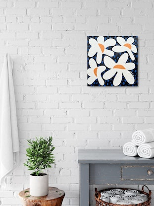 (CreativeWork) Dancing Daisy by Amy Kim. Acrylic Paint. Shop online at Bluethumb.