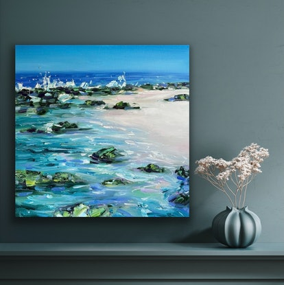 (CreativeWork) North Cott Ripple by Jo Meredith. Oil Paint. Shop online at Bluethumb.