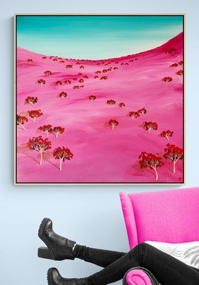 (CreativeWork) Morning Blush 92X92CM Large Textured Abstract Landscape by Tania Chanter. Acrylic Paint. Shop online at Bluethumb.