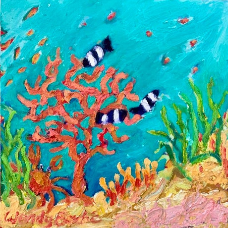 (CreativeWork) Hide and seek by Wendy Bache. Oil. Shop online at Bluethumb.