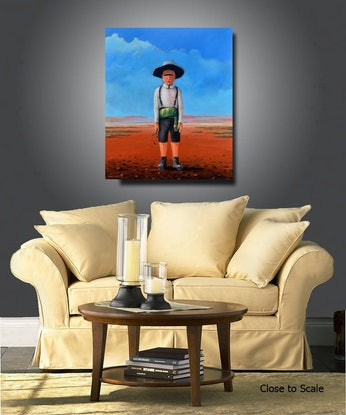(CreativeWork) Young Ned Kelly  by Max Horst  Sokolowski. Acrylic Paint. Shop online at Bluethumb.