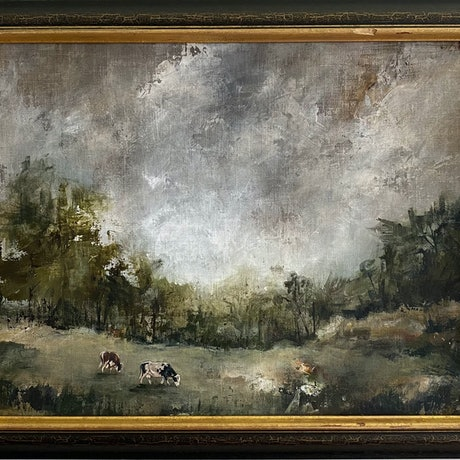 (CreativeWork) Moody Pastures by Bonnie Larden. Acrylic Paint. Shop online at Bluethumb.